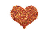 Hot and spicy crushed chillis in a heart shape