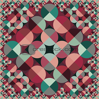 Abstract Vector Seamless Geometric Square Circle Color Pattern