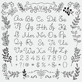 Hand Drawn English Alphabet Letters and Numbers, Florals