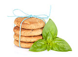 Stack of crackers with basil
