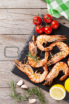 Grilled shrimps on stone plate