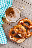 Beer mug and pretzel
