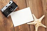 Travel and vacation photo frame, starfish and camera