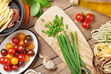 Pasta cooking ingredients and utensils