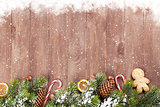 Christmas background with tree and snow