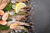 Fresh prawns with spices