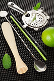 Bar drink accessories and mojito ingredients
