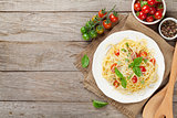 Spaghetti pasta with tomatoes and basil
