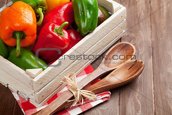 Fresh colorful bell pepper box