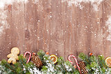 Christmas background with fir tree and food decor