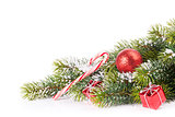 Christmas tree branch with decor