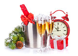 Champagne, christmas clock and fir tree