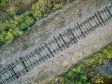 railroad tracks aerial view