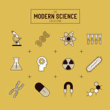 Science Gold Vector Icon Set