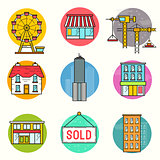 Urban building Vector Icon Set
