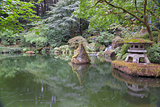 Japanese Stone Lantern by the Pond