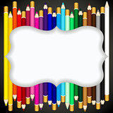 Color pencils background with blank banner