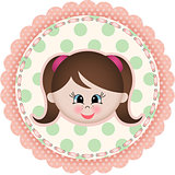 Cute girl label classic round sticker