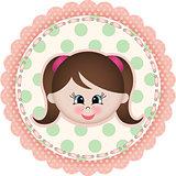 Cute girl label classic round sticker
