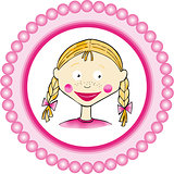 Girl label classic round sticker