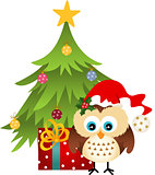 Owl with Christmas tree and gift