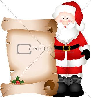 Santa Claus holding Christmas parchment