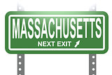 Massachusetts green sign board isolated
