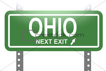 Ohio green sign board isolated