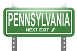 Pennsylvania green sign board isolated