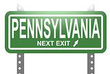 Pennsylvania green sign board isolated