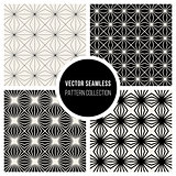 Vector Seamless BW Square Lines Geometric Pattern Collection