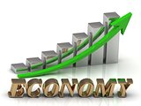 ECONOMY- inscription of gold letters and Graphic growth