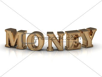 MONEY - inscription of bright gold letters on white