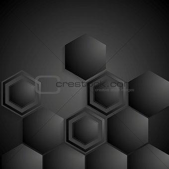Black geometric hexagons background