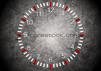 Abstract clock on grunge wall