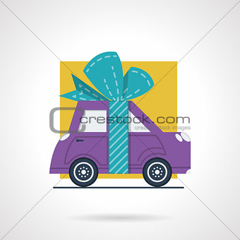 Advertising car flat vector icon