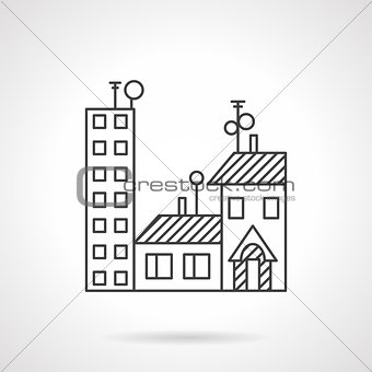 Apartments rent line vector icon