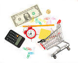 Shopping cart with office stuff