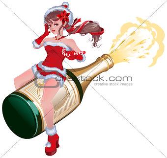 Santa girl flying on bottle champagne. Maiden flying on bottle