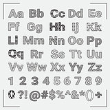 Hand Drawn Geometric English Alphabet Letters and Numbers