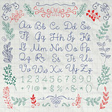 Drawn English Alphabet Letters and Numbers on Paper