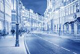 Evening city street.