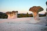 Sunrise at a rock phenomenon The Stone Mushrooms, Bulgaria