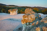 Sunrise at a rock phenomenon The Stone Mushrooms, Bulgaria