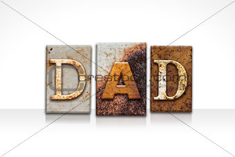 Dad Letterpress Concept Isolated on White