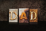 Dad Letterpress Concept on Dark Background