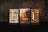 Flu Letterpress Concept on Dark Background