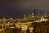 Seattle Skyline with Highway Traffic at Night