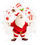Merry Santa Claus juggles with Christmas gifts and sweets as magician