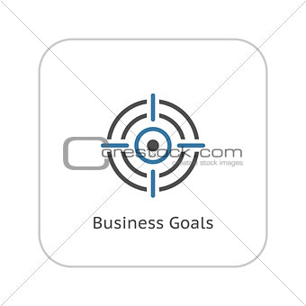 Business Goals Icon. Flat Design.